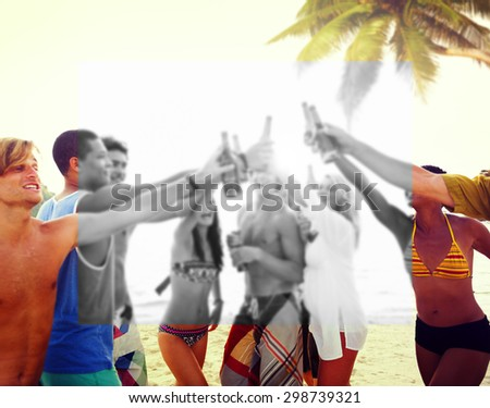 Diverse Multiethnic People Partying and Toasting Glasses - stock photo