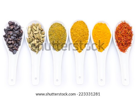 Diverse of spices in ceramic spoon isolated on white background - stock photo