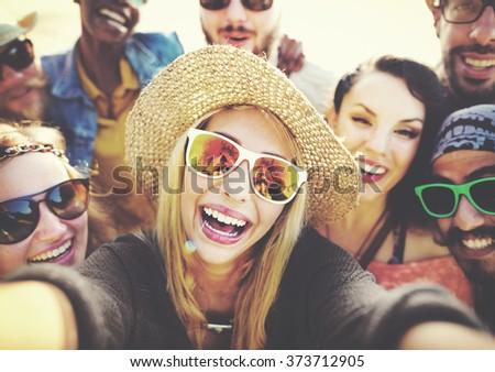 Diverse People Beach Summer Friends Fun Selfie Concept - stock photo