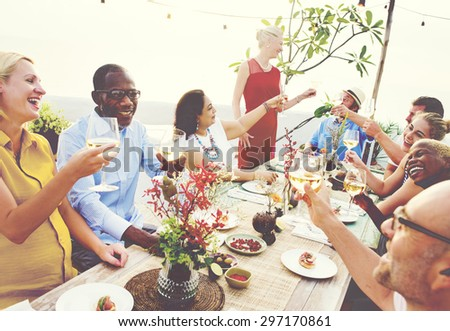 Diverse People Cheers Celebration Food Concept - stock photo
