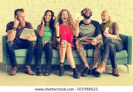 Diverse People Community Togetherness Technology Music Concept