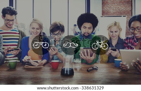 Diverse People Digital Devices Wireless Communication Concept - stock photo