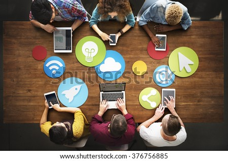 Diverse People Electronic Devices Media Concept - stock photo
