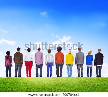 Diverse People Facing Backwards Outdoors - stock photo
