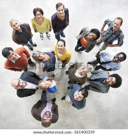 Diverse People Friendship Togetherness Happiness Aerial View Concept - stock photo