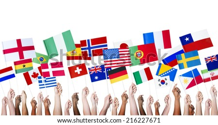 Diverse People Holding Diverse National Flags - stock photo
