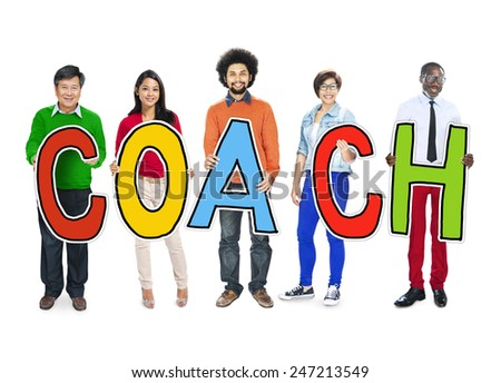 DIverse People Holding Text Coach - stock photo