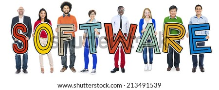 DIverse People Holding Text Software - stock photo