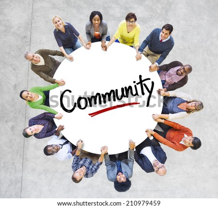 Diverse People in a Circle with Community Concept - stock photo