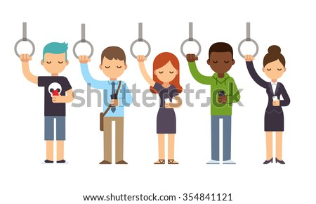 Diverse people on subway commute looking at smartphones. Cartoon illustration in simple flat style. - stock photo