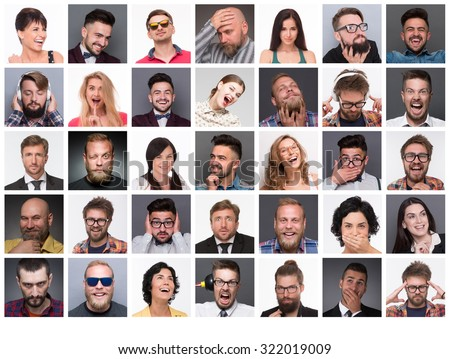 Diverse people's faces. Collage of diverse multi-ethnic and mixed age people expressing different emotions and feelings. - stock photo