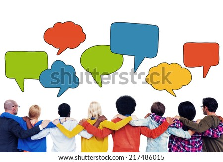 Diverse People with Colorful Speech Bubbles