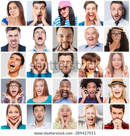 Diverse people with different emotions. Collage of diverse multi-ethnic and mixed age range people expressing different emotions  - stock photo