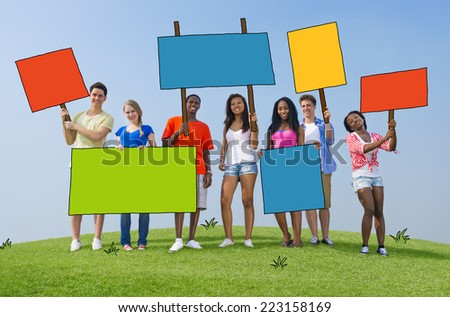 Diverse People with Placards and Billboards