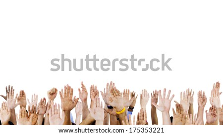 Diverse Raised Hands - stock photo