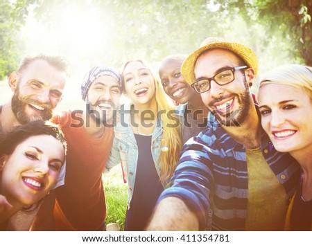 Diverse Summer Friends Fun Bonding Selfie Concept - stock photo