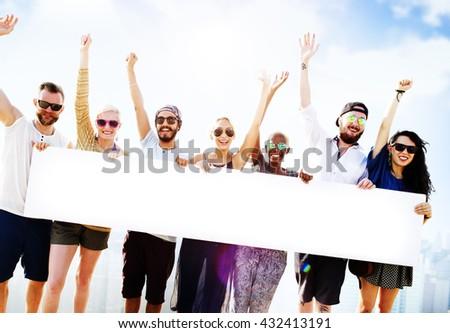 Diverse Summer Friends Fun Copy Space Concept - stock photo