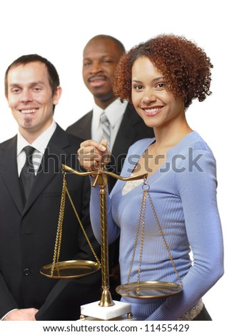Diverse team of young legal professionals isolated on white - stock photo