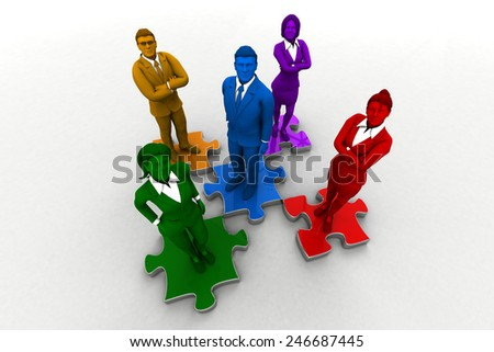 Diverse team on Jigsaw Puzzle. A diverse team comes together like a jigsaw puzzle . - stock photo