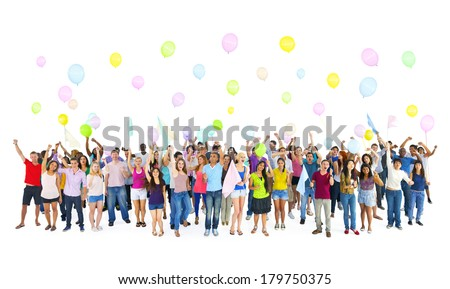 Diverse World Students Celebrating and Partying - stock photo