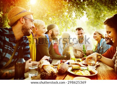 Diverse Yard Summer Friends Fun Bonding Concept - stock photo
