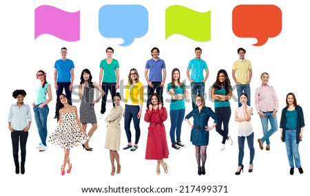 Diversified group of people with similar ideas. - stock photo