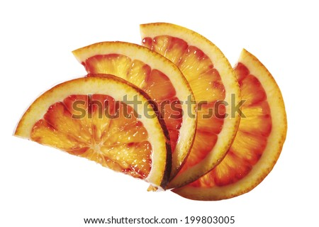 Diversified orange slices, elevated view, close-up - stock photo