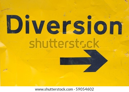 Diversion sign for traffic - stock photo