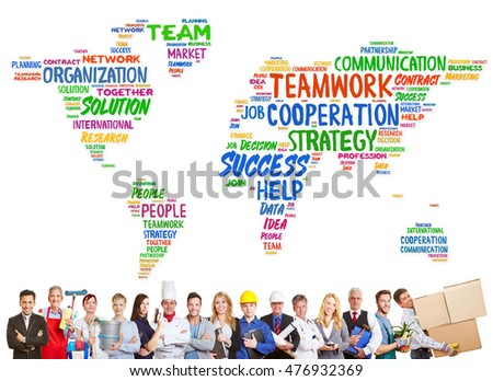 Diversity and teamwork concept with different professions in front of a worldmap