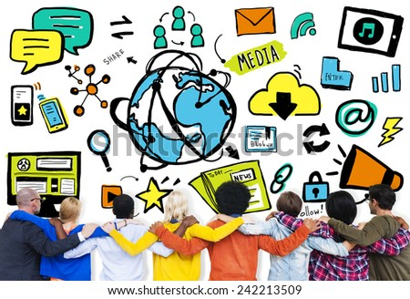 Diversity Casual People Media Technology Teamwork Friendship Concept - stock photo