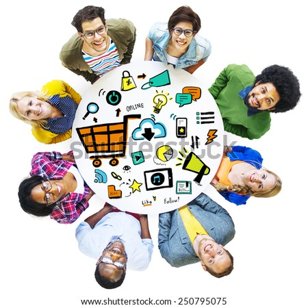 Diversity Casual People Online Marketing Team Aspiration Concept - stock photo