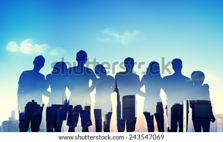 Diversity Casual Teenager Teamwork Support Cheerful Concept - stock photo