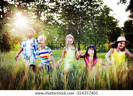 Diversity Children Childhood Friendship Cheerful Concept - stock photo