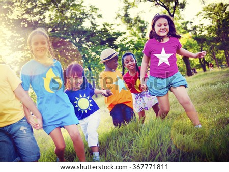 Diversity Children Friendship Happiness Playful Concept - stock photo