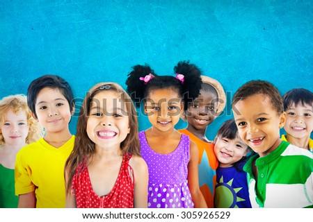 Diversity Children Friendship Innocence Smiling Concept - stock photo