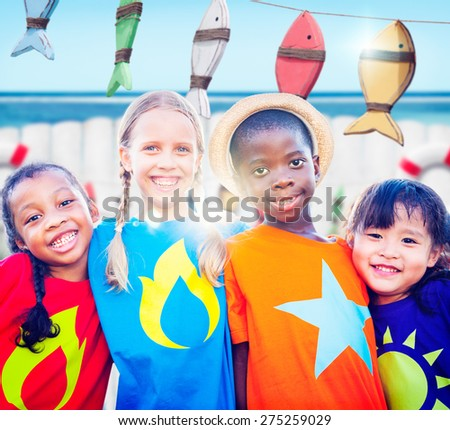 Diversity Children Smiling Summer Happy Group Togetherness Concept - stock photo