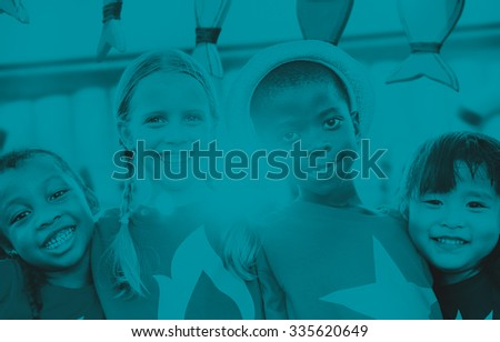 Diversity Children Smiling Summer Happy Leisure Concept - stock photo