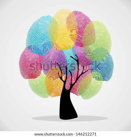Diversity color tree finger prints illustration background set. - stock photo