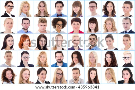 diversity concept - collage with many business people portraits over white