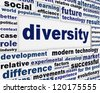 Diversity creative poster design. Distinction word clouds background - stock photo