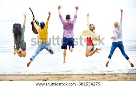 Diversity Friends Summer Beach Vacation Holiday Concept - stock photo