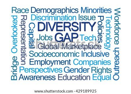 Diversity Gap Word Cloud on White Background - stock photo