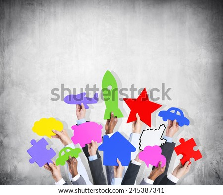 Diversity Hands Holding Variation Ideas Colorful Icons Concept - stock photo
