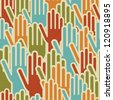 Diversity hands up seamless pattern background. - stock vector