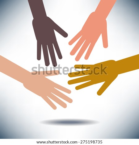 Diversity Image with Hands - stock photo