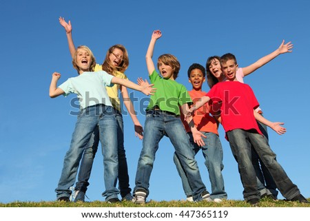 diversity kids or children group hands raised