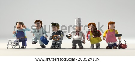 Diversity occupations people standing in a row looking for different direction and future.  Including doctor, cooker, driver, engineer, cleaner & veterinarian in colorful plastic block lifestyle.