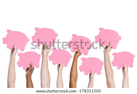 Diversity of Hands Holding Piggy Banks - stock photo