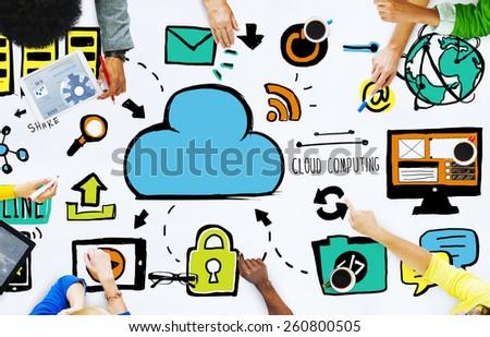 Diversity People Cloud Computing Brainstorming Meeting Concept - stock photo