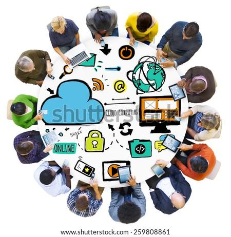 Diversity People Cloud Computing Digital Communication Meeting Concept - stock photo